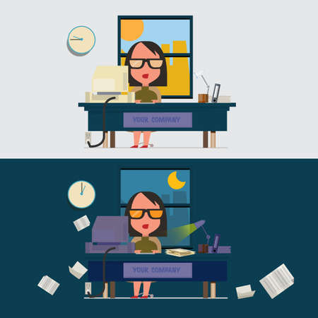 hard working: hard working women. working late concept - vector illustration