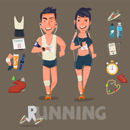 Running character with kits . male and female. sport concept - vector illustration