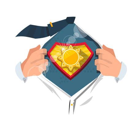 smart man: smart man open shirt to show sun symbol in hero style. power of sun concept - vector illustration