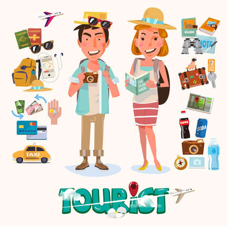 couple hiking: couple of tourist with gadget for travel. character design - vector illustration Illustration