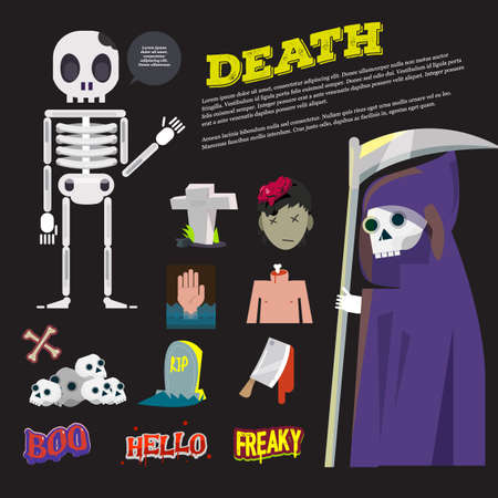 obituary: death icon and the reeper character come with death typographic design - vector illustration