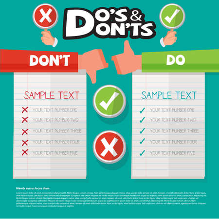 negative: Do and Dont hand symbol with graphic element. right and wrong - vector illustration