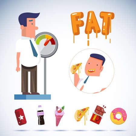 ジャンク フードと装置の計量に脂肪の実業家。太りすぎの概念ベクトル図  イラスト・ベクター素材