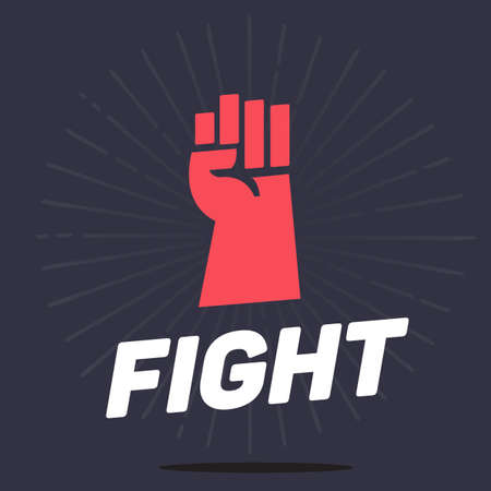 rebellion: fist hands up icon with typographic, fight and revolution concept - vector ilustration