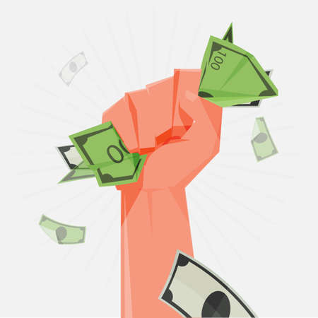 Fist Holding money banknotes - vector illustration