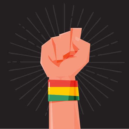 hand held: fist hand held high with Rasta style Bracelets. wristband. financial concept - vector illustration