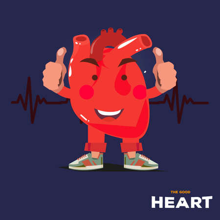 thumps up: Strong happy heart character show his thumps up with heart rate in background. Good gealthy concept - vector illustration Illustration