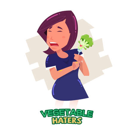 eater: vegetable haters character with text heading design - vector illustration