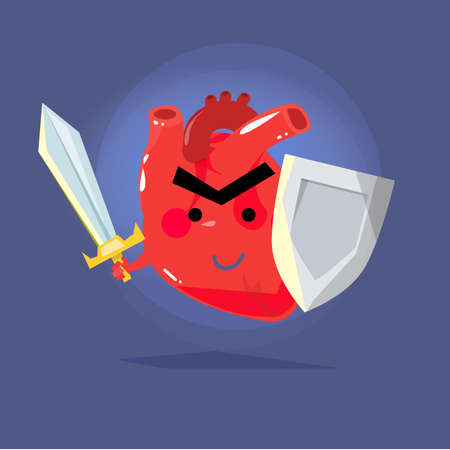 sword and heart: heart warrior. strong human heart concept. protect - vector illustration Illustration
