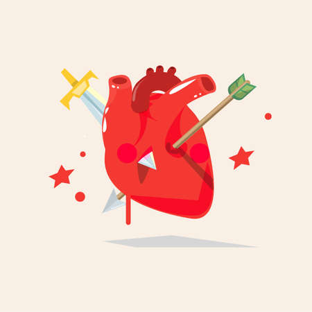 sword and heart: Human Heart impaled by arrow and sword. Concept wounded and hurt heart, broken heart - vector illustration