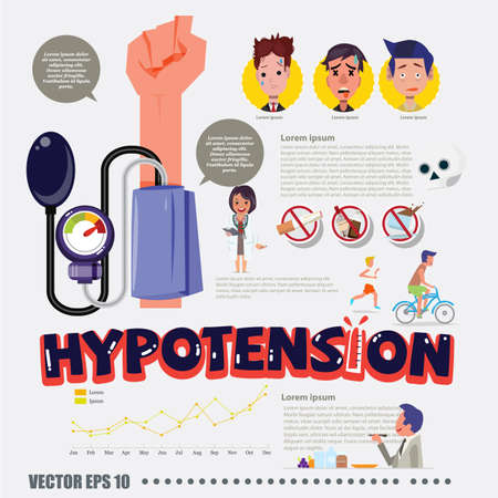 hypotension: Hypotension with infographic elements - vector illustration