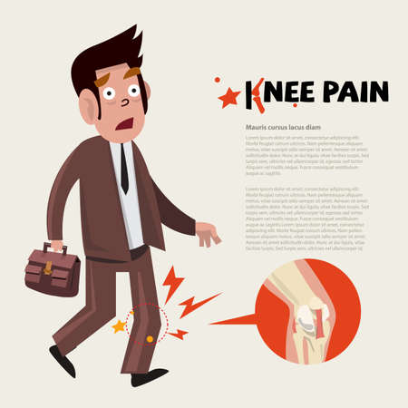 muscle anatomy: knee pain character - vector illustration