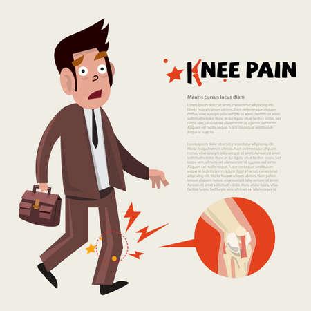 de rodillas: personaje dolor de rodilla - ilustración vectorial