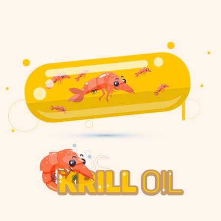 krill oil in capsule. medicine concept - vector illustration