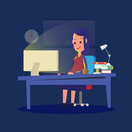 workload: women working late night. workload concept - vector illustration Illustration