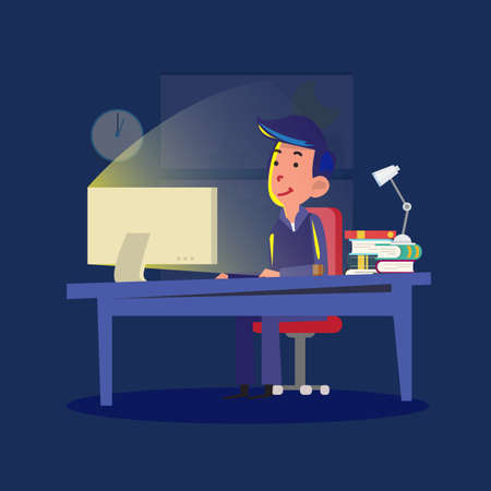 workload: man working late night. workload concept - vector illustration Illustration