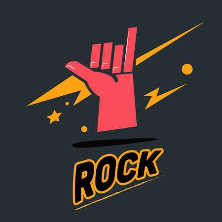 rock hand: rock hand symbol with typographic - vector illustration Illustration