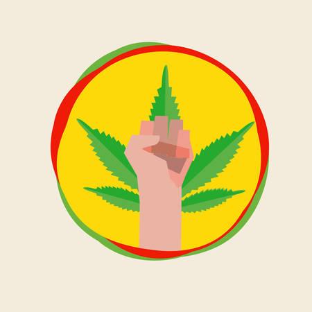revolt: fist hand with marijuana leaf. symbolic concept - vector illustration
