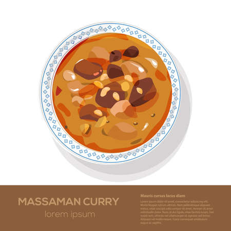 curry rice: Massaman Curry on top view - vector illustration