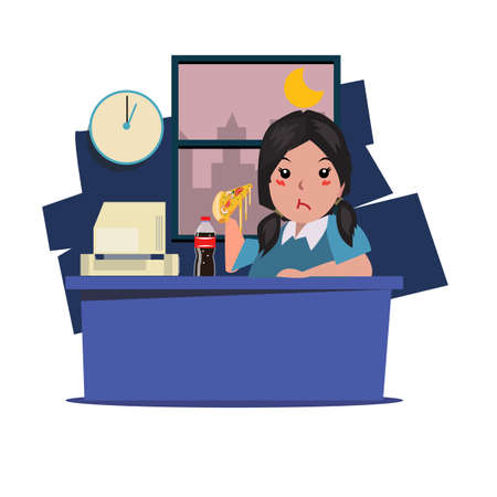 lunch: Woman eating junk food and soda at work. working late night - vector illustration Illustration