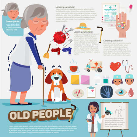 old people: old people with graphic icons set - illustration