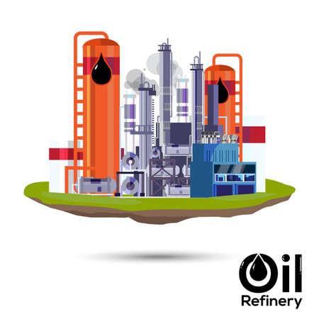refinery: Oil refinery. factory design - illustration