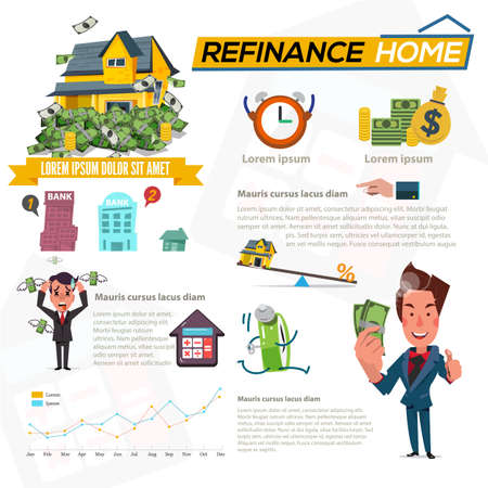 Refinance home with graphic element. debt man and rich man character. concept of mortgage loan - illustration