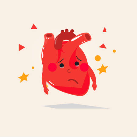 stethescope: sick heart character. sad face - illustration