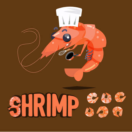 shrimp chef character design with boil and dried shrimp ready to cook - illustration Vettoriali