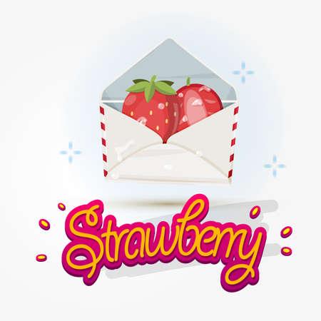 freshness: strawberry in envelope. freshness fruit from nature concept. typographic design - illustration Illustration