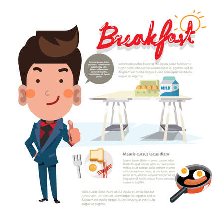 thumps up: breakfast on table with smart man show thumps up. eggs, milk, omelet, bread, sausage, bacon. infographic. character design. good morning with breakfast concept - illustration