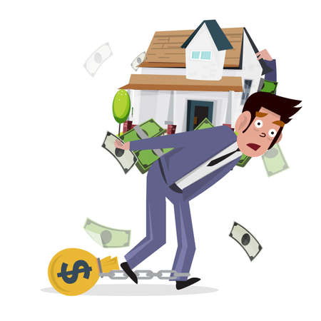 heavy vehicle: man carrying home with money. loan from house. concept of mortgage loan - illustration Illustration