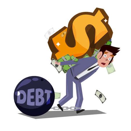 homme portant le symbole de l'argent sur son dos. concept esclave argent - illustration Vecteurs