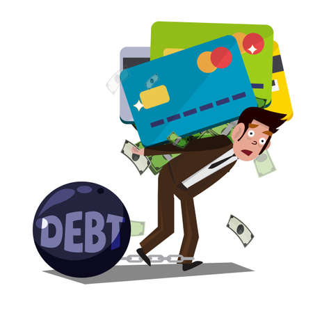 debt: man carrying huge credit card with money. debt from credit card. concept of debt - illustration