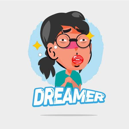 sleeping bags: dreamer character - illustration