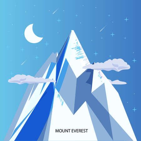 monter everest avec un ciel clair de nuit et étoiles. la plus haute montagne du monde - illustration vectorielle