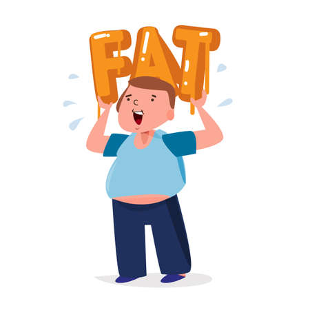 metabolic: fat man carrying a big fat typographic design. unhealthy fat concept - vector illustration