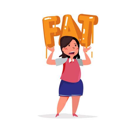 文字体裁の脂肪に脂肪質の女性を運ぶ。タイポグラフィ デザイン - ベクター イラスト