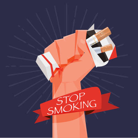 crushing: cigarette box in fist hand. giving up smoking. stop smoking concept - vector illustration Illustration