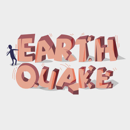 earthquake crack: Earthquake 3d typographic design. Crack stone. Broken stone. Diaster concept - vector illustration Illustration