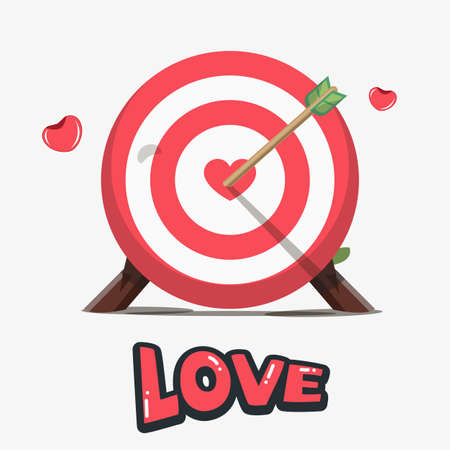 speed dating: Darts board with red heart in the center. Love Target concept - vector illustration