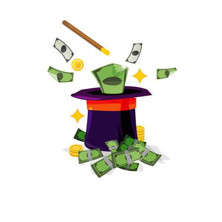 talent show: magic hat with money - vector illustration Illustration