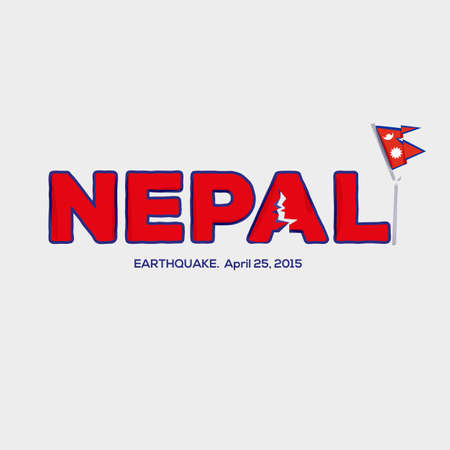 pray for: Nepal earthquake design with broken flag. pray for Nepal earthquake concept. damage from earthquake - vector illustration