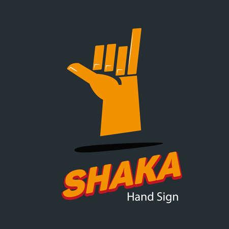 gesticulation: shaka hand symbol. hand sign concept vector illustration