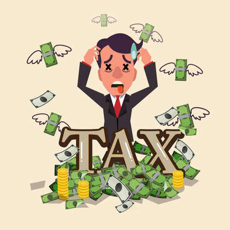 puzzled: business smart man worry about tax. being puzzled with tax money. flying money and row of coins - vector illustration