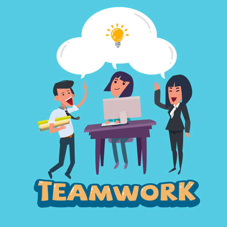 smart man: working team of smart man and women with bulb of idea with teamwork typographic. various positions jobs teamwork concept - vector illustration