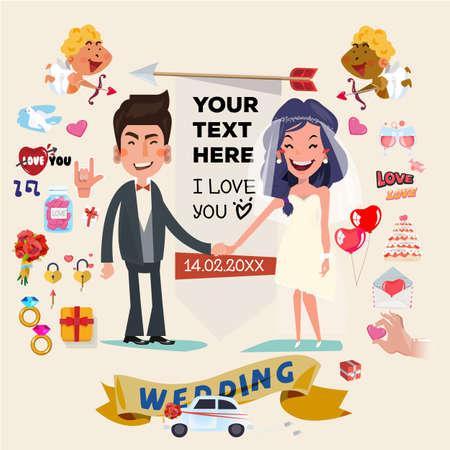 결혼식: 결혼식 요소 및 아이콘의 세트와 함께 귀여운 웨딩 커플 문자. 사랑 개념 결혼식 - 벡터 일러스트 레이 션