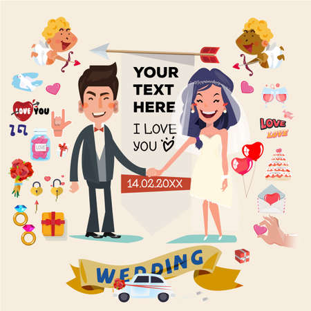 wedding ceremony: cute wedding couple character with set of wedding ceremony elements and icons. wedding with love concept - vector illustration