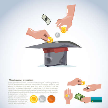 generosity: Hand taking money to hat. Donate and giving concept come with various action of hand holding money. Banknotes and coins - vector illustration