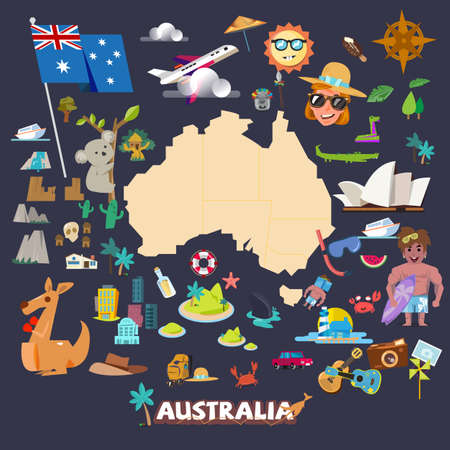 cascade mountains: Australia map with icons - illustration